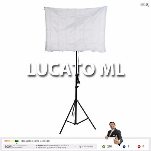 kit estúdio luz contínua 4xe27 + haze 50x70 + tripé 2m - np