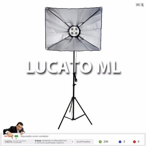 kit estúdio luz contínua 4xe27 + haze 50x70 + tripé - nv