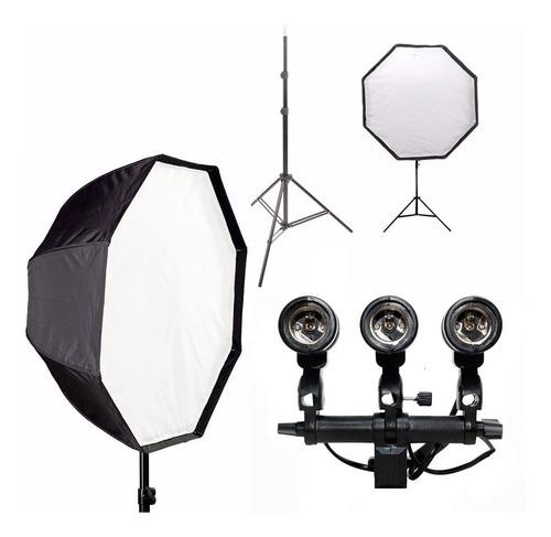 kit estúdio octobox 80cm + tripé + soquete triplo e- 27