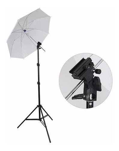 kit estúdio sombrinha + tripé iluminação + suporte p/ flash