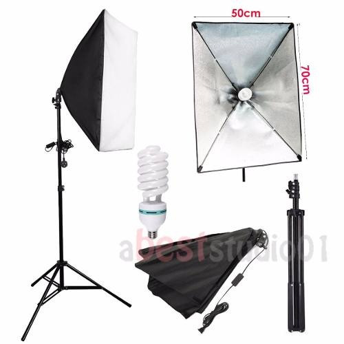 kit estúdio: tripé iluminação + softbox 50x70 + lâmpada 150w