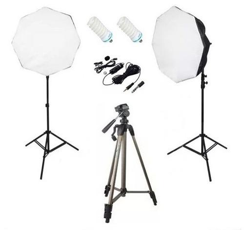 kit estúdio youtuber - softbox tripés lâmpadas microfone