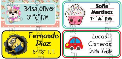 kit etiquetas escolares  auto adhesivas utiles cuadernos