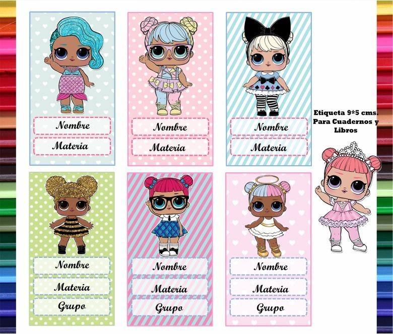 kit etiquetas escolares muñecas l o l imprimible 2018 lol 5 500