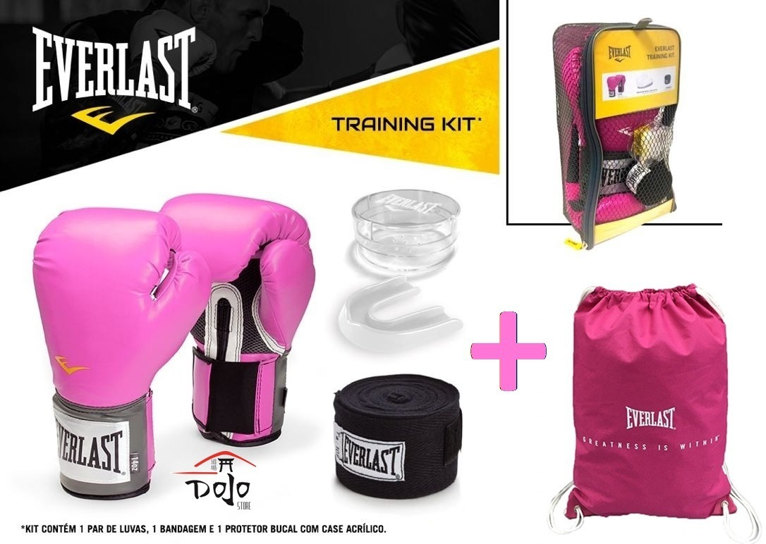 kit everlast luva boxe muay thai rosa + banda + bucal + bag. Carregando  zoom. fab1880540c64