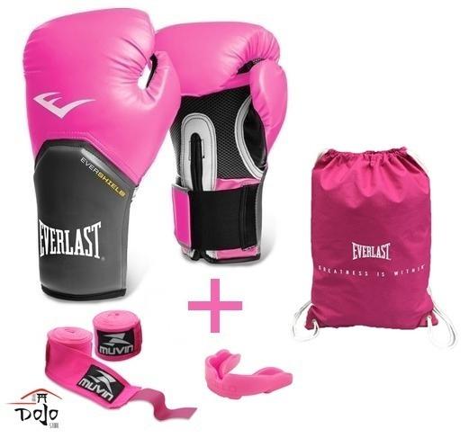 e31e72db3 Kit Everlast Luva Boxe Muay Thai Rosa Bucal + Bandagem + Bag - R ...