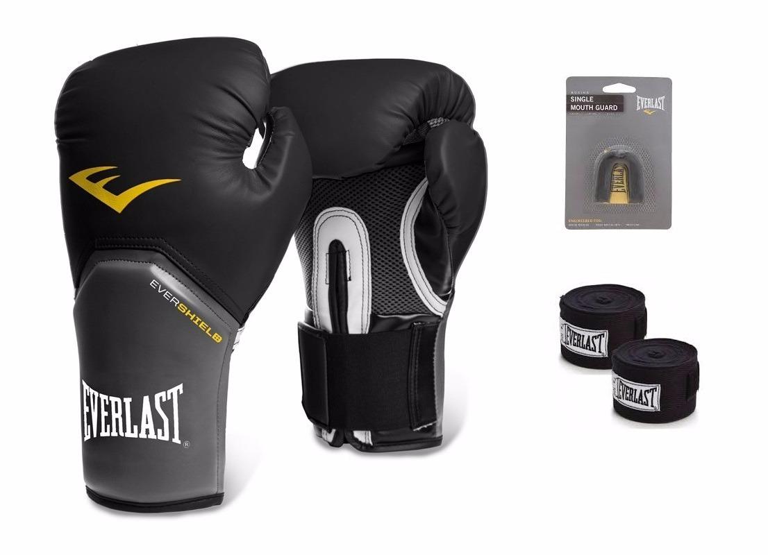 efdce1c345f14 Kit Everlast Preto Luva Boxe Muay Thai Bandagem Protetor Buc - R ...