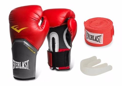 9ac97cd3c Kit Everlast Vermelho Luva Boxe E Muay Thai Banda 3m E Bucal - R ...