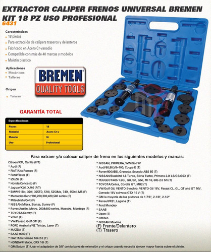 kit extractor caliper de freno universal 18 pzs bremen prof