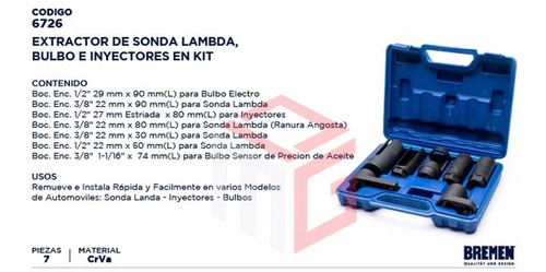 kit extractor sonda lambda bulbo inyectores bremen 7pz cod. 6726 dgm