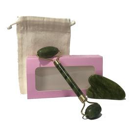 Kit Facial Rodillo Masajeador Jade Y Piedra Gua Sha