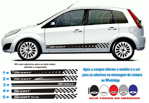 kit faixa adesivo lateral esportivo fiesta rocam hatch sedan