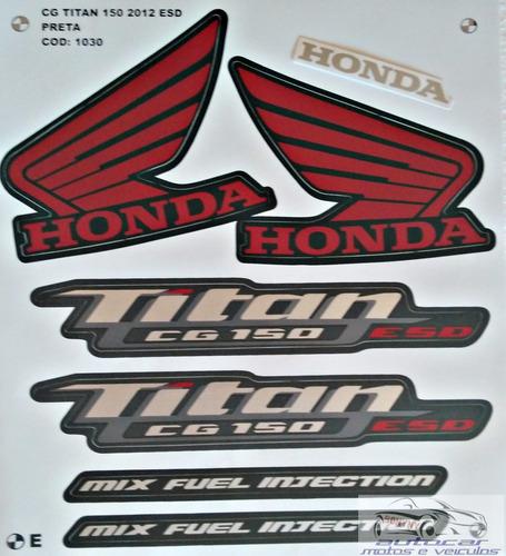 kit faixa adesivo titan cg 150 esd  mix preta 2012