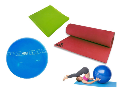 kit faixa elastica media + bola 65cm + tapete pilates