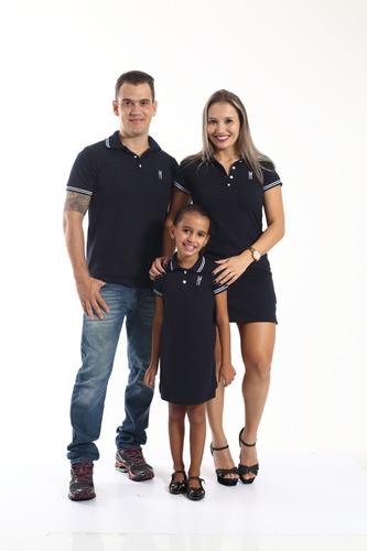 kit família camisa polo e vestido composto marinho