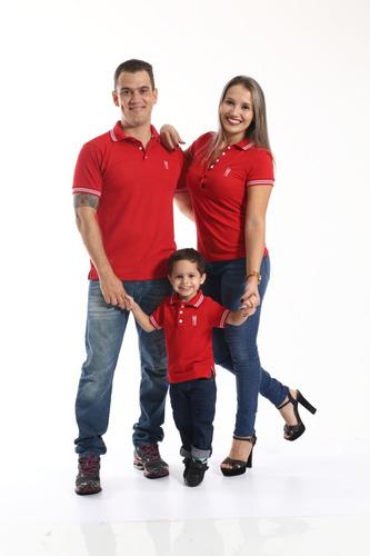 kit família camisa polo e vestido composto por 3 peças.