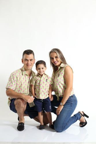 kit família camisas social flamingos