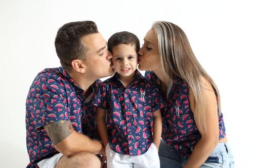 kit família camisas social melancia