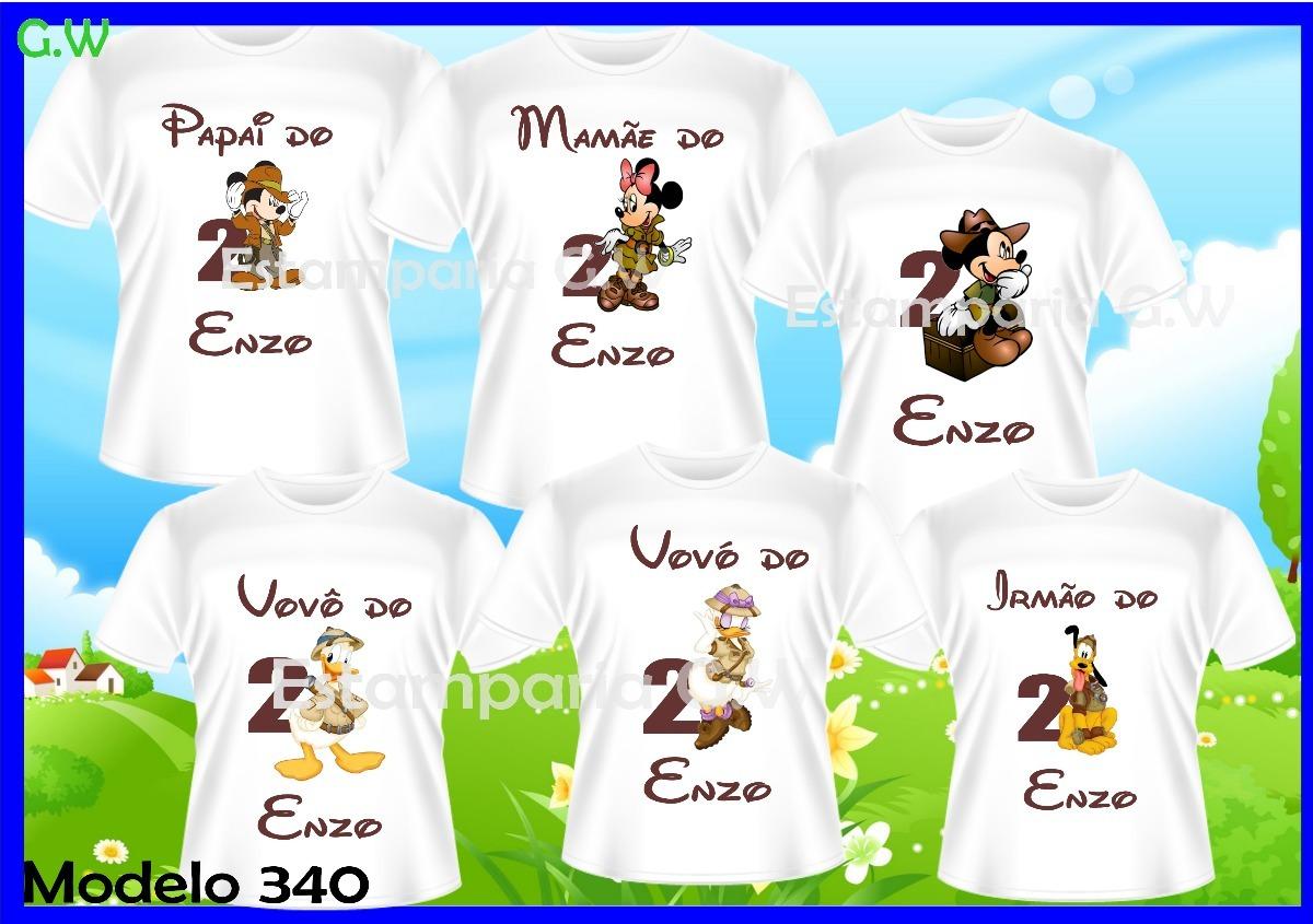 3bcb3beef0a0 kit familia camisetas personalizadas mickey safari c/6. Carregando zoom.
