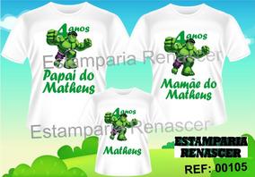 ba1888ccbfc138 Kit Família Camisetas Tal Pai, Mãe E Filho Hulk C3und