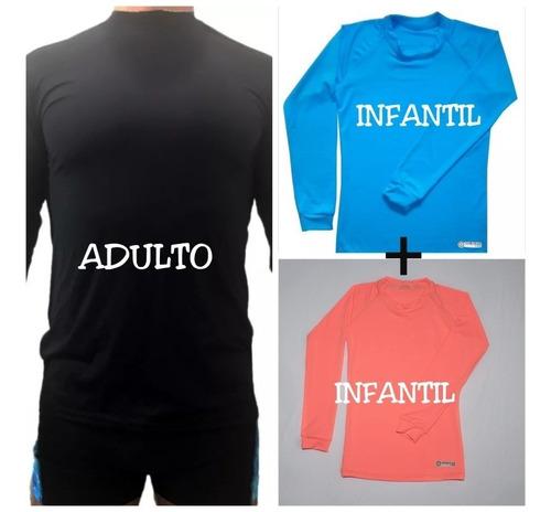 kit familia camisetas uv 50+ (1 adulto e 2 infantis)