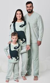 504023a6187e40 Kit Família Dinossauro Inverno Pijama Soft 1 Inf + 2 Adulto