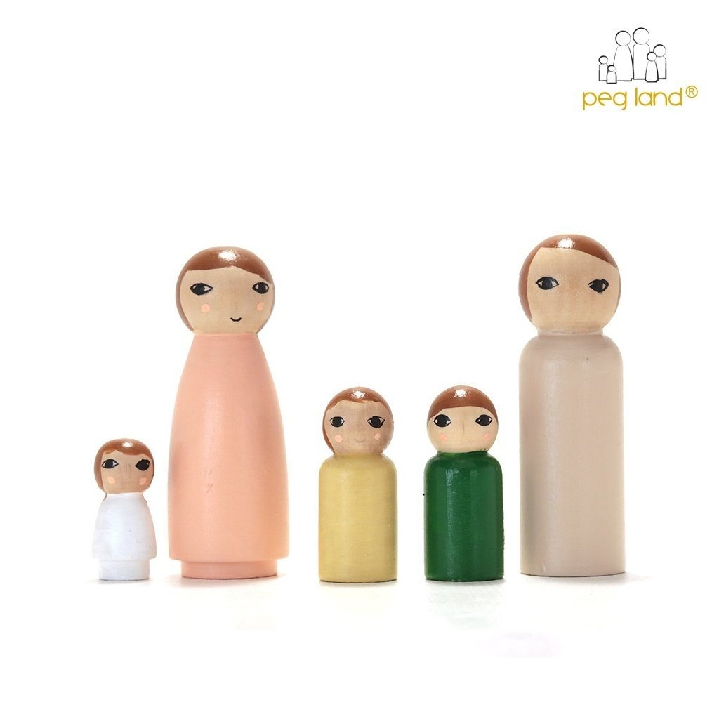 Kit Familia Muñecos Madera Para Pintar Y Jugar Waldorf