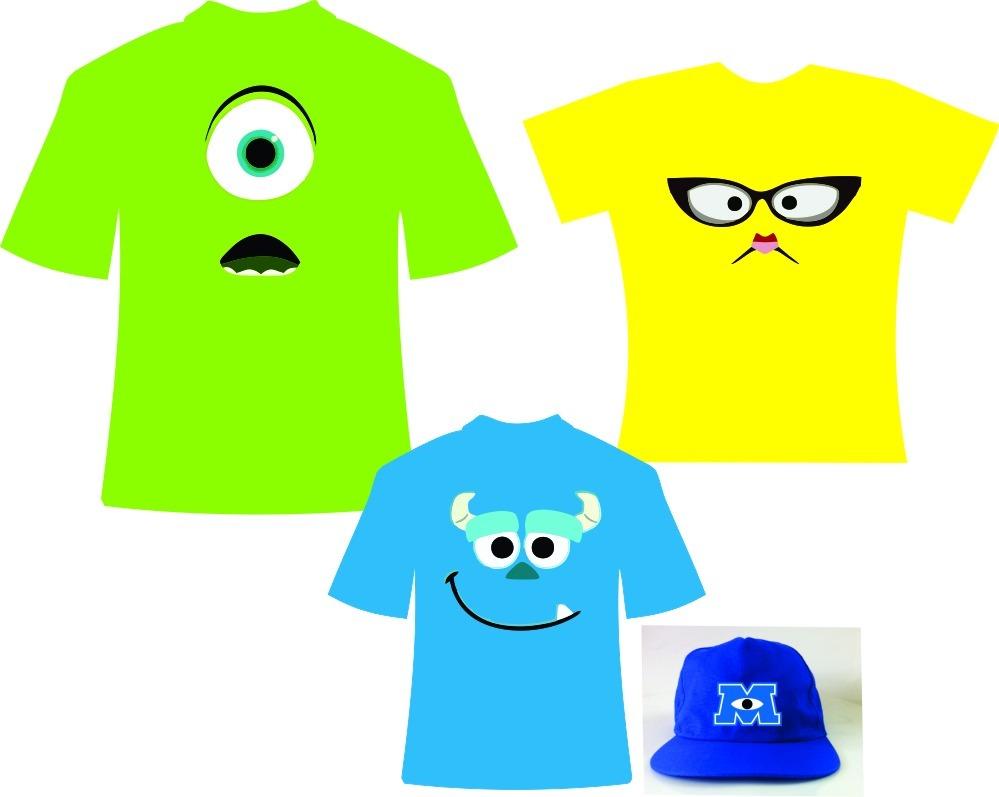a83a8c77ee109 Kit Fantasia Com Camisetas Personalizadas Monstros Sa E Boné - R ...