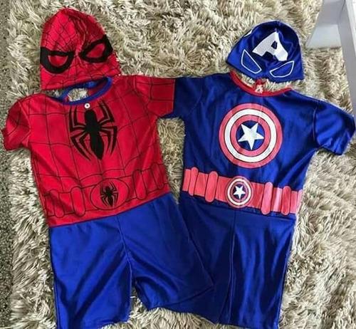 kit fantasia conjunto infantil super herói festa infantil