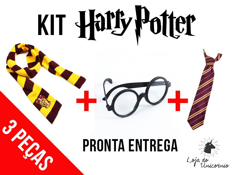 15ac2c0bd Kit Fantasia Harry Potter Com 3pc Óculos P. Cachecol Gravata - R$ 84 ...