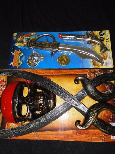 kit fantasia pirata espada mascara pistola faca jack sparrow