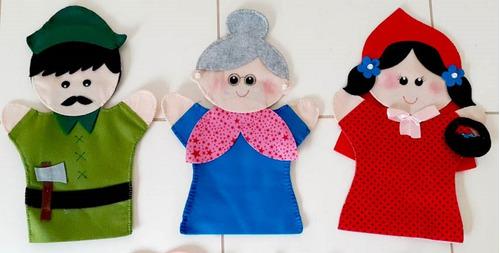 kit fantoche chapeuzinho vermelho + tres poquinhos em feltro