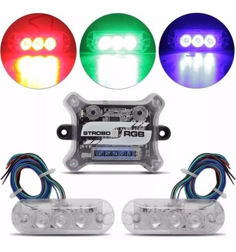 kit farol ajk vittro luz rgb led 2 faróis 7 cores 9 efeitos