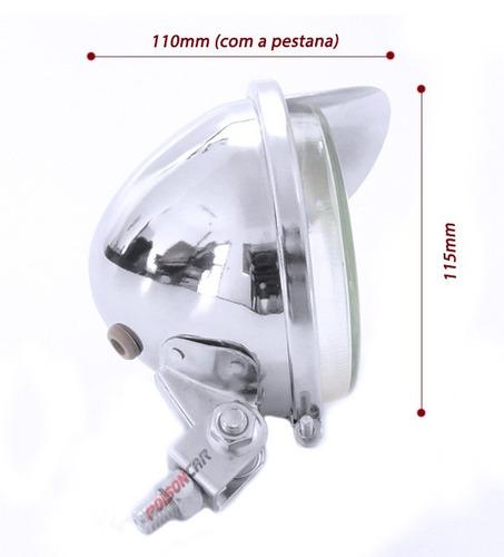 kit farol auxiliar cromado fusca moto triciclo carro pestana