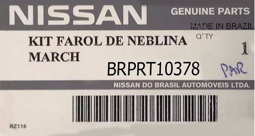 kit farol milha nissan march 11/13 original brprt10378
