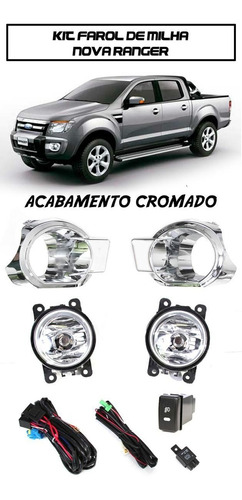 kit farol milha ranger 2012/2013  moldura acabamento cromado