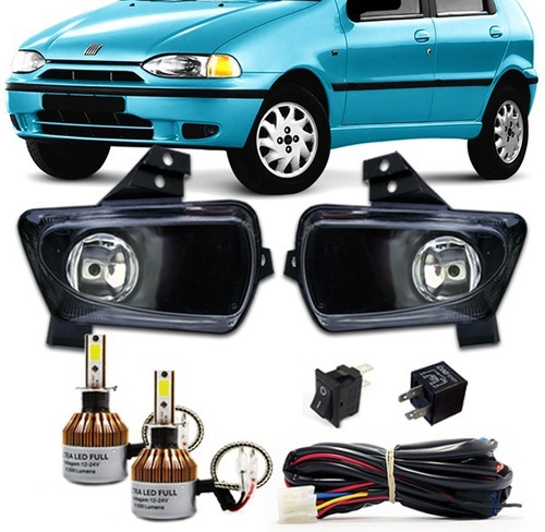 kit farol milha siena 1996 1997 98 99 + kit ultra led 6000k