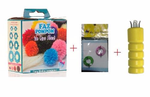 kit faz pompom + mini faz pompom + tear rabo de gato c/agulh