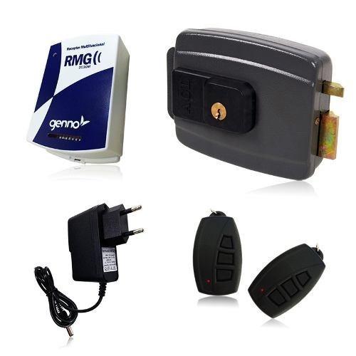 kit fechadura elétrica +4 controle remoto + receptor + fonte