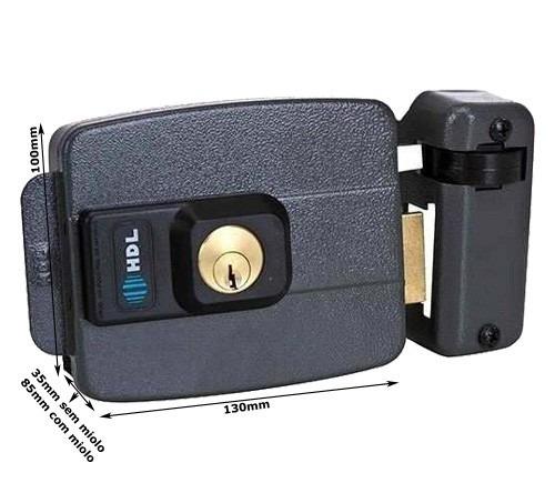 kit fechadura elétrica hdl 2 controles 1 receptor e fonte