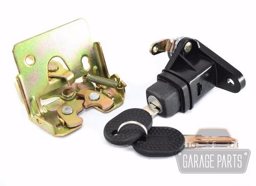 kit fecho botão c/ chaves + fechadura porta malas uno 96/03