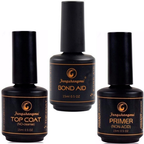 kit fengshangmei top coat + primer s/ acido + bond aid