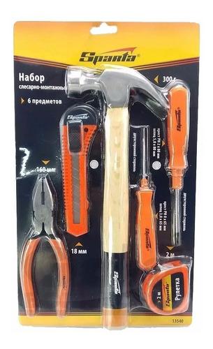kit ferramenta martelo alicate chave fenda com 6 peças