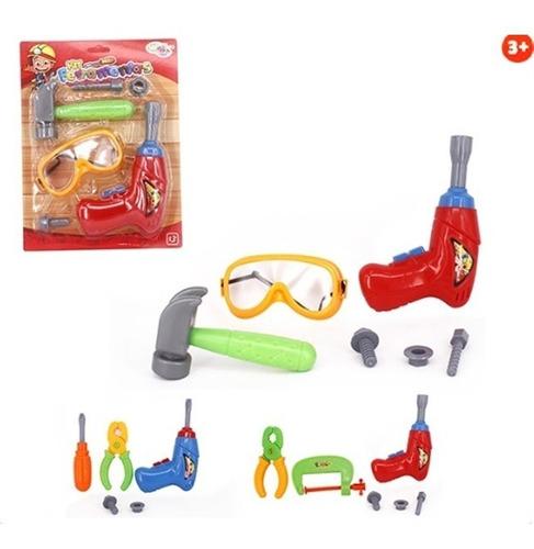kit ferramentas infantil com furadeira mecanica crianças