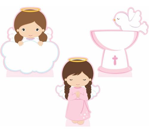 kit festa 3 displays de mesa batizado menina 2