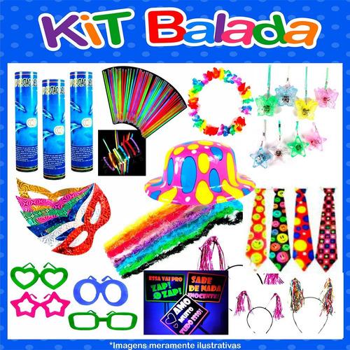 kit festa animação c/ tiara, óculos, pulseira neon 150 itens
