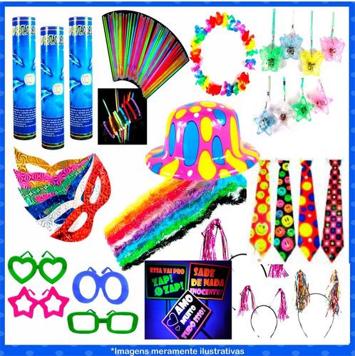 kit festa animação c/ tiara, óculos, pulseira neon 180 itens