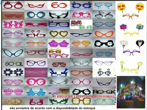 kit festa balada-30 colares piscas+40 anéis piscas+30 óculos