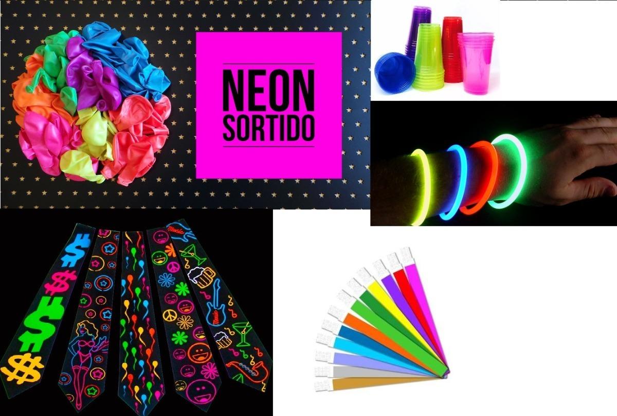 fe9b46388 kit festa balada neon + colares + gravatas + copos. Carregando zoom.