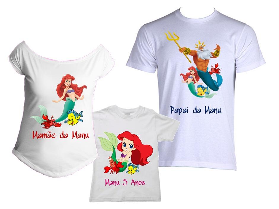494123a28 Kit Festa C  5 Camisetas Pequena Sereia Little Mermaid Nome - R  153 ...